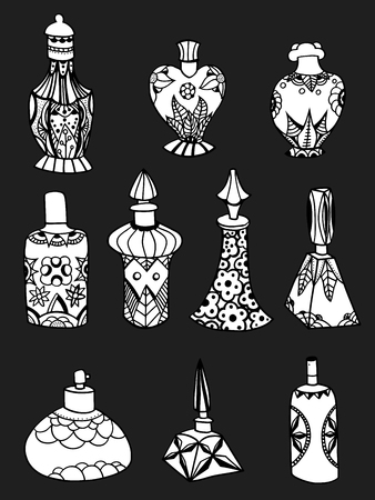 fragrance: Set of simple isolated perfume bottles.