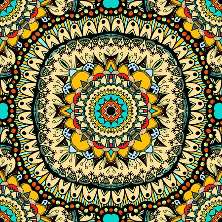 oriental rug: Seamless vector colorful pattern. East ornament with gold contour and colorful details on the turquoise background. Tracery of mandalas for textile.
