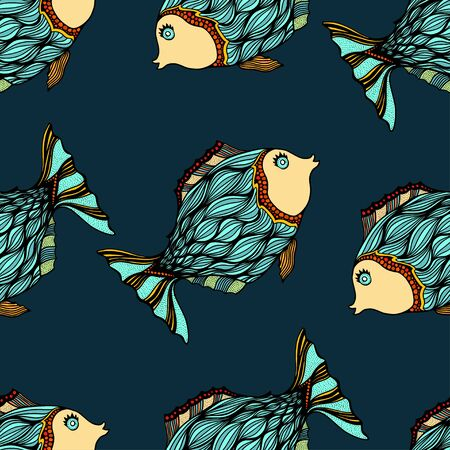 deepsea: Seamless background of abstract fish.