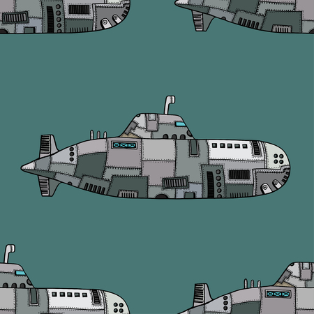 rivets: Seamless pattern of Colored old Submarine. Vector Illustration Art