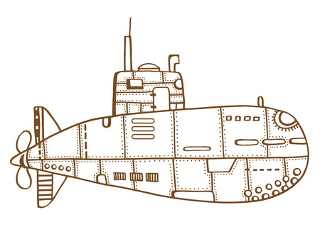 Brown Doodle Sketch of old Submarine Vector Illustration Art