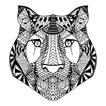 tiger page: Tiger head. Adult antistress coloring page. Black white hand drawn doodle animal. Ethnic patterned vector. African, indian, totem tribal, zentangle design. Sketch for tattoo, poster, print, t-shirt Illustration