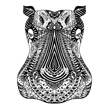 floral decoration: Monochrome Hippo zentangle head, vector illustration image
