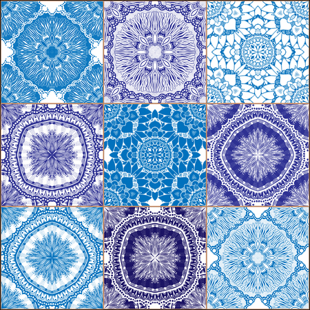 tiles floor: Indigo blue Tiles Floor Ornament Collection. Gorgeous Seamless Patchwork Pattern from Traditional Painted Tin Glazed Ceramic Tilework Vintage Illustration. For web page template background Illustration