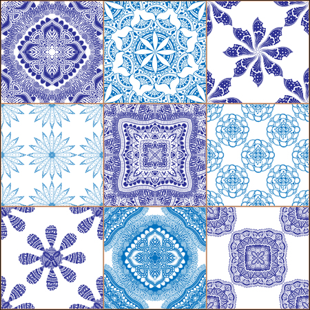 glazed: Indigo blue Tiles Floor Ornament Collection. Gorgeous Seamless Patchwork Pattern from Traditional Painted Tin Glazed Ceramic Tilework Vintage Illustration. For web page template background Illustration