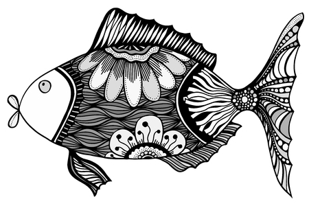 black fish: Hand drawn vector fish with floral elements in black and white doodle style. Pattern for coloring book Illustration