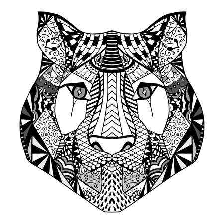 royal safari: Tiger head. Adult antistress coloring page. Black white hand drawn doodle animal. Ethnic patterned vector. African, indian, totem tribal, zentangle design. Sketch for tattoo, poster, print, t-shirt Illustration