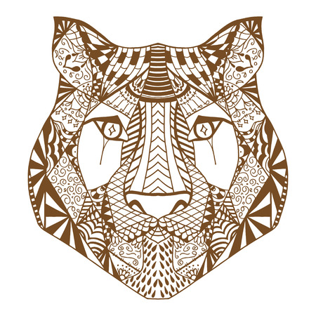 tiger page: Tiger head. Adult antistress coloring page. Brown white hand drawn doodle animal. Ethnic patterned vector. African, indian, totem tribal, zentangle design. Sketch for tattoo, poster, print, t-shirt