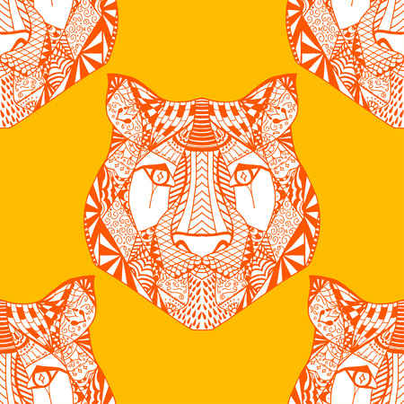undomesticated: Red and yellow Seamless Tiger pattern. Vector illustration image