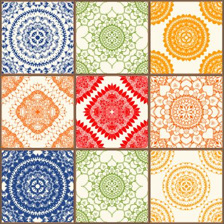 azulejos de cerámica vidriada conjunto. Azulejos de la vendimia de colores con motivos florales y geométricos, español, italiano, portugués y motivos orientales.