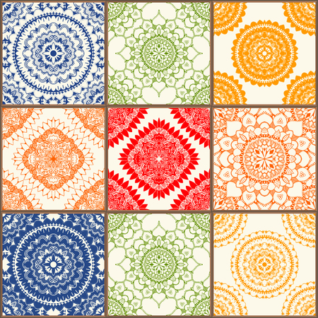 Glazed ceramic tiles set. Colorful vintage tiles with floral and geometrical patterns, Spanish, Italian, Portuguese and oriental motifs.
