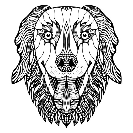canine: Dog head zentangle stylized, vector, illustration, freehand pencil, hand drawn, pattern. Zen art. Ornate vector
