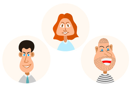 female prisoner: Vector characters. Vector avatars with eyes. Smiling happy people. Happy emotions. Vector portraits.