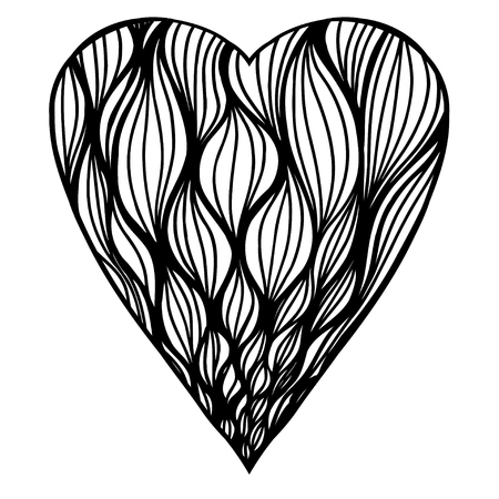 heart shaped pattern for adult and older children coloring book black and white zentangle background - Zentangle Coloring Book