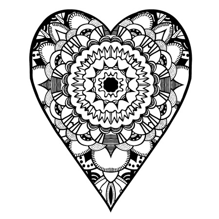 white heart: heart shaped pattern for adult and older children coloring book, black and white zentangle background for valentines day greeting card paisley hand made print, vector illustration