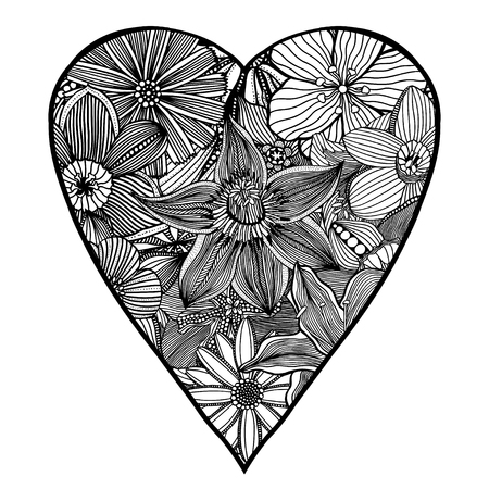 Vector Heart Shaped Pattern For Coloring Book Ethnic Retro Design