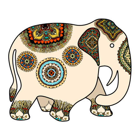 mendie: Vector hand-drawn color tattoo doodle with decorated Indian Elephant