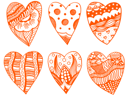 red hand: Set Hand drawn red hearts in zentangle style. Pattern for coloring book. Coloring page for adult anti stress. Made by trace from sketch. Valentines day background.