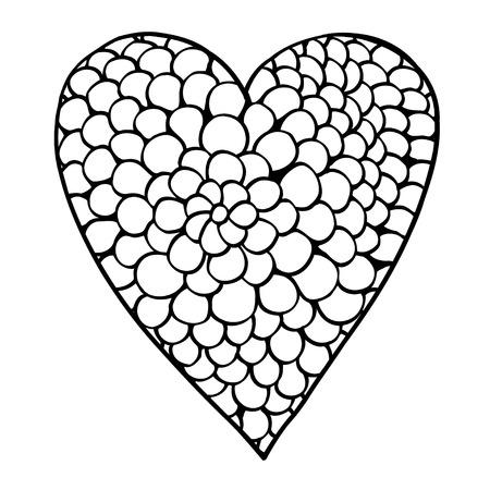 발렌타인 데이 인사말 카드 페이 즐 손으로 만든 인쇄 책, 흑백 zentangle 배경 색칠 성인 및 청소년을위한 심장 모양의 패턴, 벡터 일러스트 레이 션