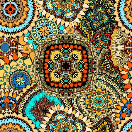 Superbe motif abstrait artistique complexe étiré sans soudure à la main dans le vecteur. modèle de conception attrayante pour les remplissages de fond, le textile, le site web, affiche, carte, puzzle, livre. texture zentangle sans fin. Vecteurs