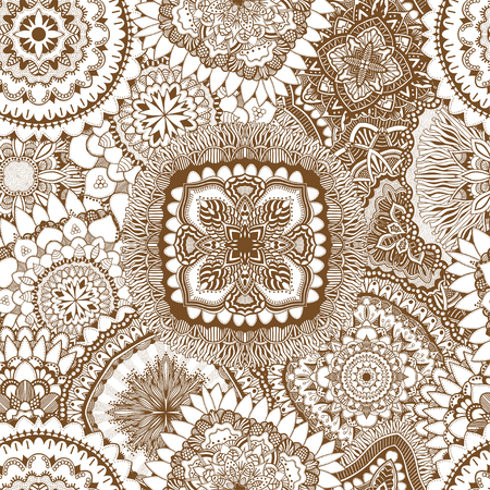 vitrage: Vector Seamless Abstract Brown and White Tribal Pattern. Hand Drawn Ethnic Texture, Flight of Imagination