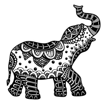 Indischer Elefant. Hand gezeichnet Doodle indischer Elefant mit Stammes-Ornament. Vektor ethnischen Elefanten.