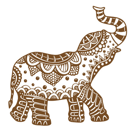 Brown Indian elephant. Hand drawn doodle indian elephant with tribal ornament. Vector ethnic elephant.