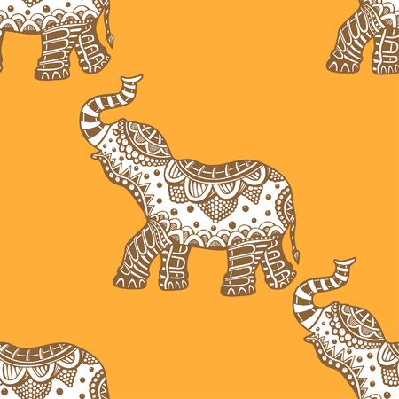 brawn: Vector pattern with indian elephants. Hand drawn doodle elephants with tribal ornament. Brown and Yellow colors. Seamless background.