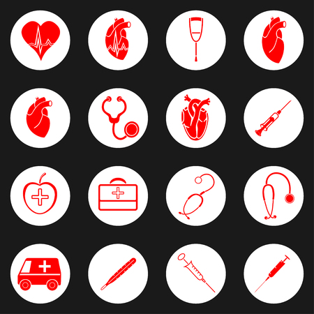 auscultation: Medicine red and white icon. Vector illustration image
