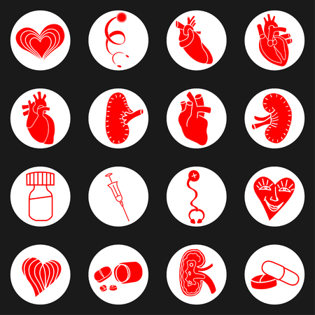 stethascope: Medicine red and white icon. Vector illustration image