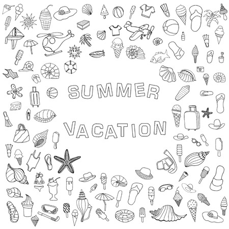 watermelon boat: Black and white vector hand drawn Doodle cartoon set of objects and symbols for summer holidays. Vector illustration for web, mobile and print
