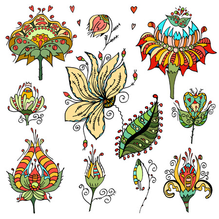 wedding  art: Set of floral bouquets, retro flowers. Vector illustration. Isolated on white