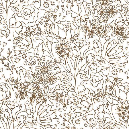 Hand getrokken bloemenbehang met reeks verschillende bloemen. Kan als naadloos behang, textiel, verpakkend document of achtergrond worden gebruikt