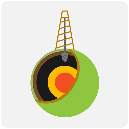 Oil mining site with drilling tower on a Earth. Flat design style illustration.