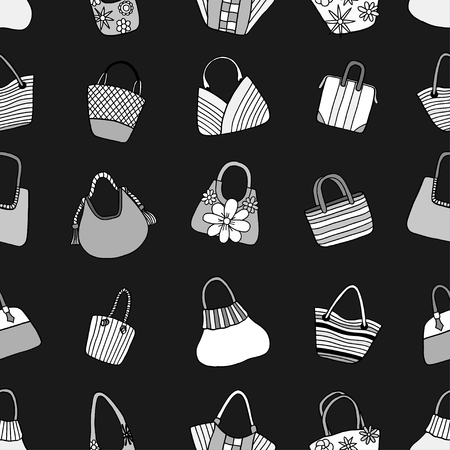beachwear: Vector seamless pattern with hand drawn gray Ladys handbag. Pattern on the theme of summer fashion. Background for use in design, packing, web site, fabrics
