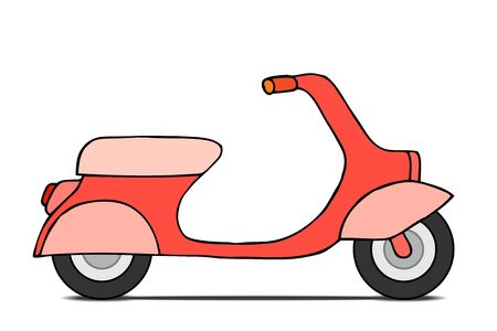 moped: Vector flat design scooter. Classic moped, side view, isolated on white