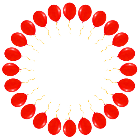 red balloons: Vector Round with Red balloons on white background, illustration. Illustration