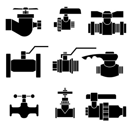 spurt: Set of water-supply faucet mixer, tap, valve for water set icon vector illustration Illustration