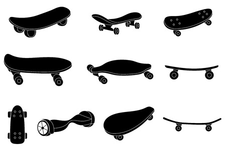 skatepark: Set of black and white skateboards. For labels, logos, icons. Attributes of skateboarding. Skate set with caps. Skate set for print and sticker. Skateboard style. Vector.