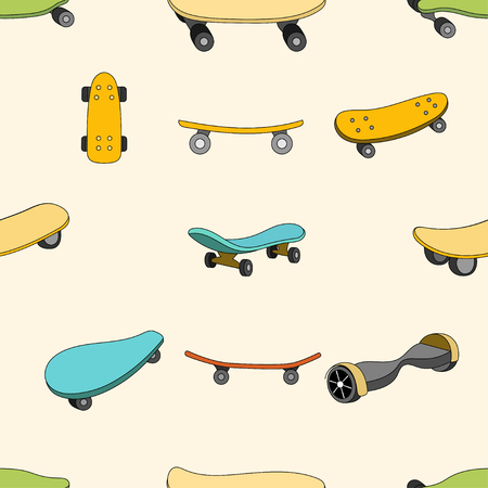 brand activity: Seamless color pattern with skateboards. Pattern with skateboards for prints, fabric, stickers. Wallpaper with a pattern of skateboards in a linear style. Skateboard pattern for hipster design. Vector Illustration