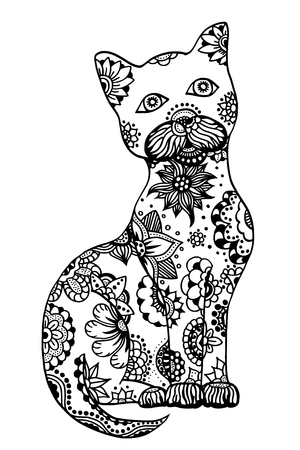 hypnotized: Hand drawn doodle outline vector cat illustration decorated with abstract ornamental drawings