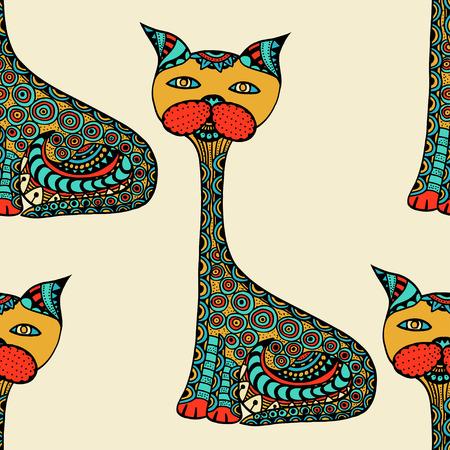 Nette Gekritzelkatzen. Vector nahtloses Muster mit Hand gezeichneten Gekritzelkatzen. Bunte Katzen mit Blumenverzierung. Spaß Hintergrund für Kinder. Helle Farben.