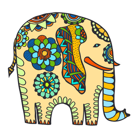 decorated: vector hand-drawn color tattoo doodle with decorated Indian Elephant
