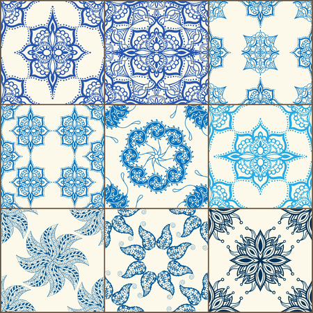 tiles floor: Indigo Blue Tiles Floor Ornament Collection. Gorgeous Seamless Patchwork Pattern from Colorful Traditional Painted Tin Glazed Ceramic Tilework Vintage Illustration Vector template background jpg eps Illustration