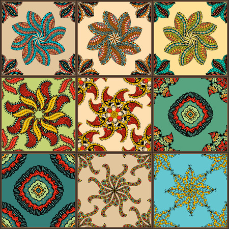 terracotta: Glazed ceramic tiles set. Colorful vintage tiles with floral and geometrical patterns, Spanish, Italian, Portuguese and oriental motifs.