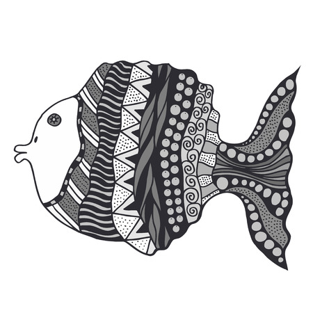 outline fish: Vector hand drawn doodle outline fish illustration. Decorative fish drawing with abstract ornaments Illustration