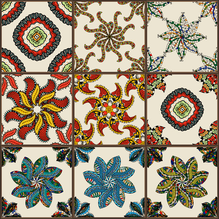 ceramic tiles: Glazed ceramic tiles set. Colorful vintage tiles with floral and geometrical patterns, Spanish, Italian, Portuguese and oriental motifs.