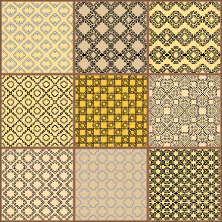 traditional pattern: Tiles Floor Ornament Collection. Gorgeous Seamless Patchwork Pattern from Traditional Painted Tin Glazed Ceramic Tilework Vintage Illustration Vector template background jpg eps