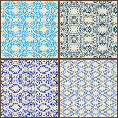 glazed: Indigo Blue Tiles Floor Ornament Collection. Gorgeous Seamless Patchwork Pattern from Colorful Traditional Painted Tin Glazed Ceramic Tilework Vintage Illustration Vector template background jpg eps Illustration