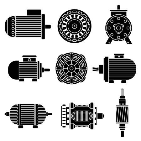 vecteur moteur électrique icônes. Noir et blanc Vector illustration. Isolé sur blanc Vecteurs